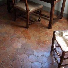 """""""Hexagones"""" from Francois & Co: hand-made antique hexagonal terra cotta tiles reclaimed from France. Brick Flooring, Living Room Flooring, Kitchen Flooring, Floors, Tiled Hallway, Quarry Tiles, Arabesque Tile, Terracotta Floor, Hexagon Tiles"""