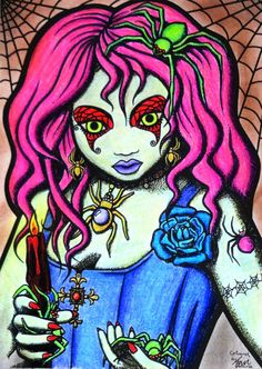 Gothic Halloween - Lady Spider Coloured with Prismacolor