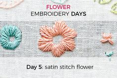 Last but not least, here comes Mrs. Does-it-all *drumroll*: the satin stitch flower. I have referred to the satin stitch as satan stitch before because it does take some practice to get it perfect and sometimes it's just annoyingly not doing what it should. Nevertheless, the satin stitch technically is one of the easiest stitches! You can use it to cover tiny, small and medium areas and make all kinds of shapes. Satin stitch makes a very smooth and polished looking surface which sets it…