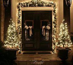 little trees white lights front door christmas decor