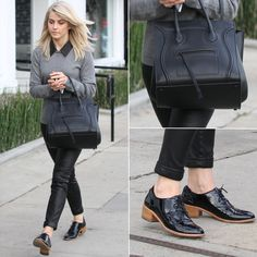 Julianne Hough's Gray Sweater and Black Oxfords Outfit