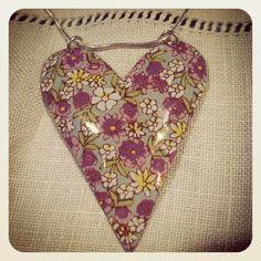 Gorgeous botanical heart pendant by Kate Hamilton available from www.ethelsattic.co.uk