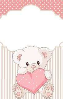 Teddy Bear for Girls: Free Printable Mini Kit for Baptism. - Oh My Baby! Scrapbooking Image, Scrapbook Bebe, Teddy Bear Party, Baby Shower Invitaciones, Baby Shawer, Foto Baby, Baby Cards, Trendy Baby, Cute Wallpapers