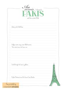 Checklist - things to do in Paris