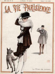 Georges Léonnec (1881 – 1940). Le Chien de Liaison. La Vie Parisienne, 11 Mai 1918. [Pinned 25-vii-2015]