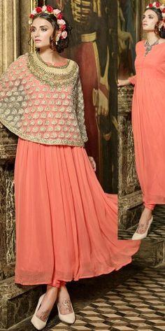 Beautiful Peach Faux Georgette Material Anarkali Suit http://www.fashionfiza.com/salwar-kameez/anarkali-suits