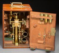 cased spencer traveling microscope circa inches high base