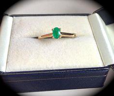 Columbian Emerald and Diamond Ring 9ct Yellow Gold