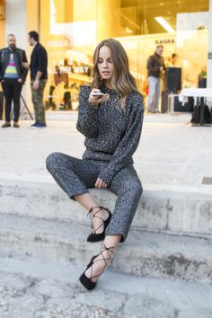 Beloved actress/fashion blogger Patricia Peristeri rocks our style universe in a pair of fierce black laced-up ballet shoes! Casual Street Style, Ballet Shoes, Rocks, Universe, Lace Up, Celebs, Actresses, Black, Fashion