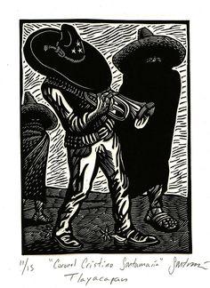 Coronel Cristino Santamaria (from the series Pesonajes de Morelos, Mexico) by Sergio Sanchez Santamaria Salon Style, Ex Libris, Pencil Drawings, Printmaking, Mexico, Arts And Crafts, Batman, Superhero, Abstract