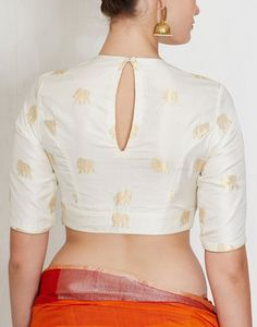 Natural Rudraksha Blouse-Raw Mango