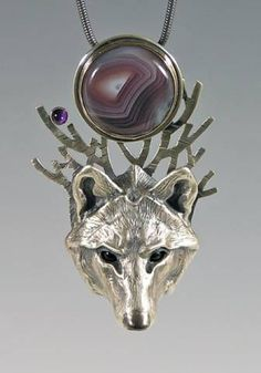 Handcrafted Silver Jewelry Timber Wolf Totem with Agate, silver  Animal Totems