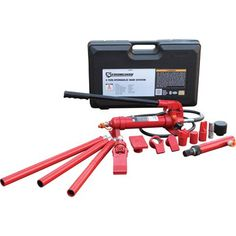 This Strongway™ Hydraulic Portable Ram System Auto Body Repair Kit offers a hydraulic ram system featuring extension tube. Hydraulic Shop Press, Hydraulic Ram, Power Hammer, Auto Body Repair, Hex Key, Automotive Tools, Metal Working, Home Improvement, Kit