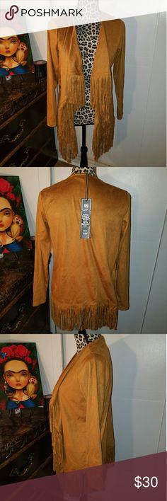 DG2 Fringe Jacket NWT Chestnut color, suede like material with fringe detail Jackets & Coats