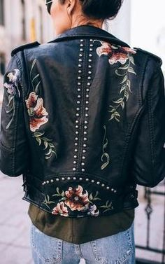 Ily Couture Embroidered Leather Jacket