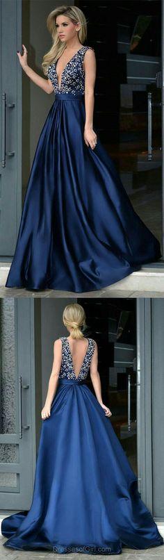 Upd0278, Elegant, A-line, Royal Blue, Long Prom Dress, with beads, satin,deep-v