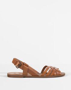 Pull&Bear - schoenen - nieuwigheden - leren sandaal - leer - 11195111-V2016