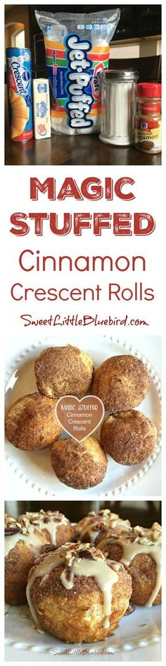 "MAGIC STUFFED CINNAMON CRESCENT ROLLS (Also known as Resurrection Rolls & Empty Tomb Rolls) Simple to make, so good! A fun activity for kids. The marshmallows in the middle of the rolls melt away, ""magically disappearing"" leaving a yummy, ooey gooey center! These cinnamon rolls will knock your socks off! 