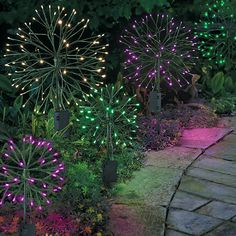 "Improvements Dandelion Battery Operated Lights-18"" - Green ($20) ❤ liked on Polyvore featuring home, outdoors, outdoor lighting, dandelights, dandelion lights, decorative lighting, garden decor, garden light, outdoor decor and patio lights"