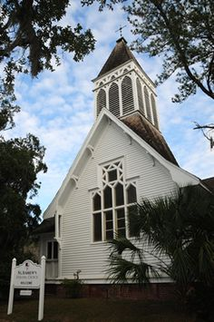 In Our South, we're Believers. So, Sunday morning is a sacred gathering of faith and fellowship, often in the same beautiful old church of our parents and grandparents. (Pictured here is Saint Andrew's Episcopal Church in Darien, Georgia, chartered in 1843)