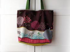 Large bag tote shoulder bag Echino fabric by Etsuko Furuya.
