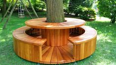 Bench Around Trees, Tree Bench, Tree Table, Wrap Around Deck, Backyard Patio Designs, Backyard Projects, Garden Projects, Backyard Landscaping, Patio Ideas