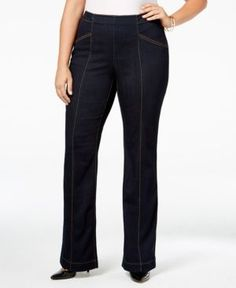 Inc International Concepts Plus Size Indigo Wash Flare-Leg Jeans, Only at Macy's - Blue 20W