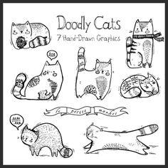 Doodly mano dibujado gato ilustración Clip Art por LePetiteMarket