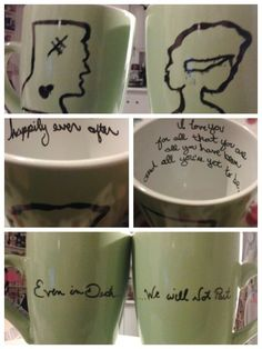 Sharpie cups. Made some for Xmas too. Made these for my coffee loving hubby. Valentine's day 2013. Woot to me. 1. Preheat oven to 350. 2. Wash cups and dry.  3. Draw or write whatever you want onto the cup, plate it bowl. 4. Put In cake pan or on a cookie sheet and bake for 30min. 5. Let cool completely. When it's cold I put my cups outside to cool. This is totally fun. I'm sure I'll end up drawing a collection of random dishes.
