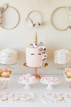 7d4426738ad Unicorn Cake from a Rose Gold  amp  Blush Pink Unicorn Party on Kara s  Party Ideas