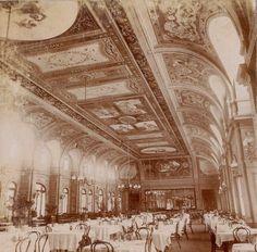 Mar del Plata. Hotel Bristol, vista del comedor. 1900 ca.