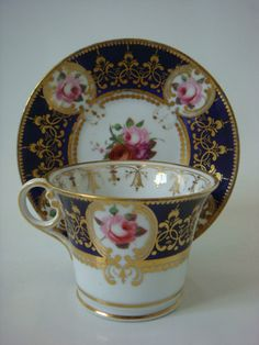 Chamberlain Worcester Richly Decorated Coffee CUP Saucer C1810 | eBay