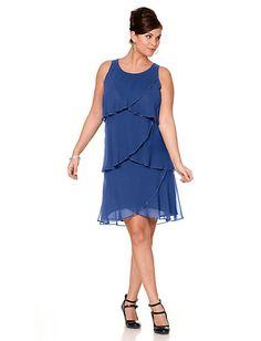 Sheego Style - sheego Style Kleid mit Volants royalblau im Heine Online-Shop ➤ Jetzt günstig bestellen auf heine.de