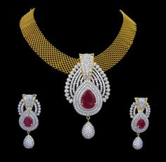 AD CZ Indian Gold & Silver Bollywood Bridal Necklace Ethnic Swam Jewelry 82