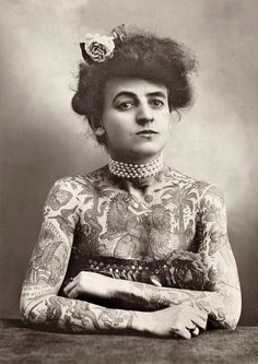 Portrait of a Tattooed Lady - The Plaza Gallery, Los Angeles c1907