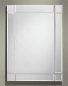 358 – Rectangle Frameless Mirror features a clear mirror with a 3 1/2″ wide beveled mirror overlay border. 24″ wide, 34″ high and 1/2″ deep.