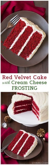 Red Velvet Cake with Cream Cheese Frosting - Add blueberries and raspberries to the top and it's perfect for the 4th. Delicious!!
