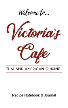 """The Victoria's Cafe recipe notebook and journal will help you keep track of your own culinary creations. We're starting the book with a place to write your grocery list, a 52 week """"What's for Dinner?"""" planner, shopping list and a place to add your own recipes. To get you started, we've included a few of Chef Kae's specially selected home recipes and rice cooking tips."""