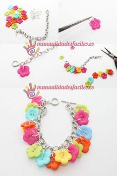 Pulseras de Bisuteria Доступ к нашему сайту намного больше информации Jewelry Kits, Kids Jewelry, Jewelry Crafts, Jewelry Making, Feather Jewelry, Beaded Jewelry, Beaded Bracelets, Button Bracelet, Handmade Bracelets