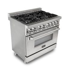 ZLINE Kitchen and Bath Zline 36 in. Gas Range with 6 Gas Burners and Electric Convection Oven in Stainless Steel (Silver) 36 Range, Oven Range, John Lewis, Ranger, Dual Oven, Cast Iron Grill, Glass And Aluminium, Single Oven, Range Cooker