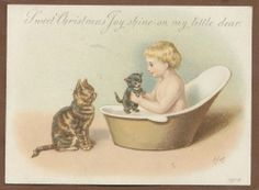 C5849 Good Victorian Xmas Card: Child in Bath and Cats, Helena Maguire