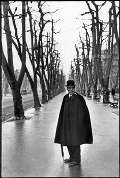 """Henri Cartier-Bresson FRANCE. Marseille. The Allée du Prado. 1932. """"I was walking behind this man when all of a sudden he turned around."""""""