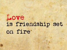 Love is friendship on fire and eventually turns to ashes.