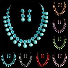WHOLESALE LADIES NEW NICE STYLE CRYSTAL NECKLACE EARRINGS JEWELRY SET WEDDING/BRIDAL/BALL