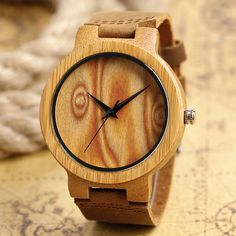 2017 Fashion Hand-made Wooden Bamboo Dial Wrist Watches with Genuine Leather Band for Men Women Christmas Gift //Price: $27.90 & FREE Shipping //     #hashtag2