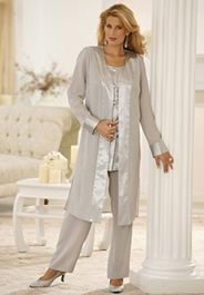 mother of the bride evening pant suit silver