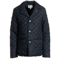 Armani Junior: Teen Boys Navy Blue Quilted Coat