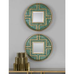 "Uttermost Amina 16"" Round Wall Mirrors Set of 2 ($147) ❤ liked on Polyvore featuring home, home decor, mirrors, green, circular mirror, metal mirror, round beveled mirror, uttermost home decor and square mirror"