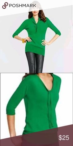 CABI Lucky Green 3/4 Sleeve Tie Sweater Cute top in a medium.  Great for fall, gently worn! CAbi Sweaters Crew & Scoop Necks
