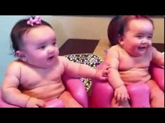 Twin babies laughing, crying, and then laughing again